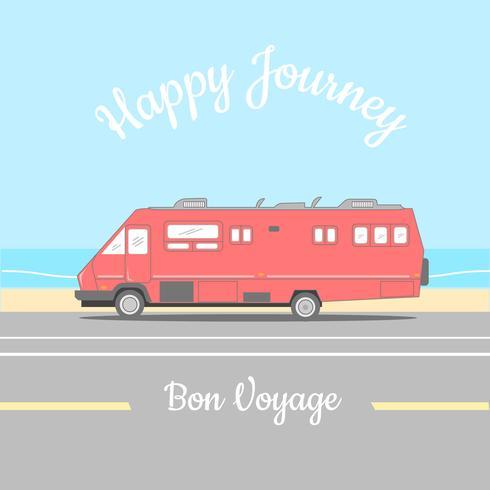 Affiche Retro Happy Caper Van Happy Journey vecteur