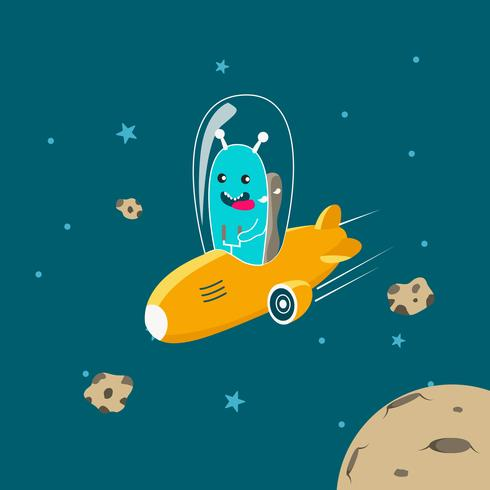 Personnage extraterrestre mignon pilotant un vaisseau spatial vecteur