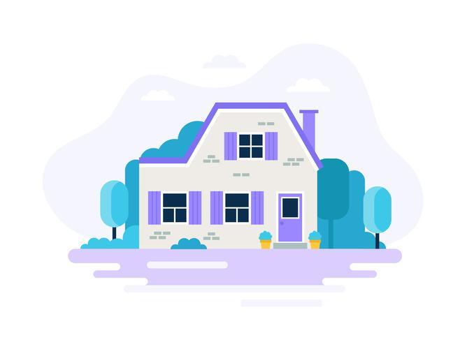 Maison avec jardin. vecteur