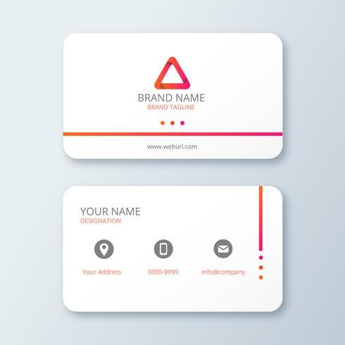 Carte de visite blanche élégante et simple avec logo triangle vecteur