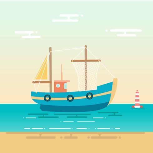 Bateau de pêche bleu ancré près du rivage vecteur