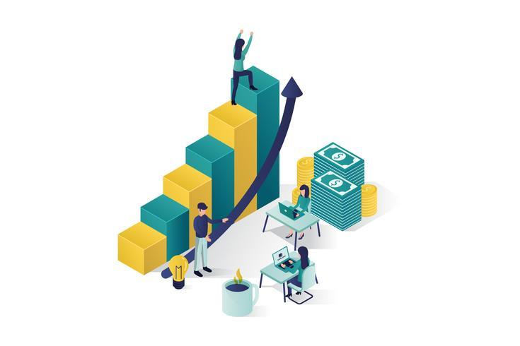 illustration vectorielle isométrique un groupe de personnages prépare un projet d'entreprise vecteur
