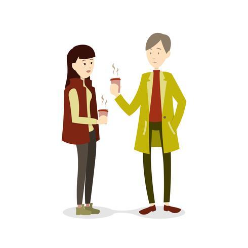 Couple, hiver, boire, chaud, boisson vecteur