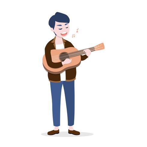 Heureux jeune homme jouant de la guitare et chanter une chanson, isolé sur fond blanc vecteur