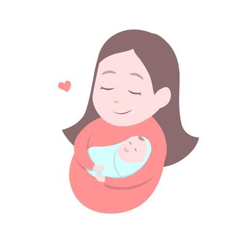 Mère tenant bébé mignon. Bonne fête des mères. vecteur
