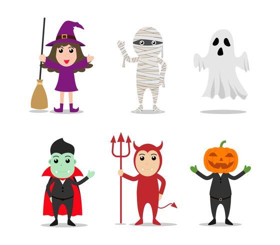 Ensemble de personnages de costumes de monstre d'Halloween vecteur