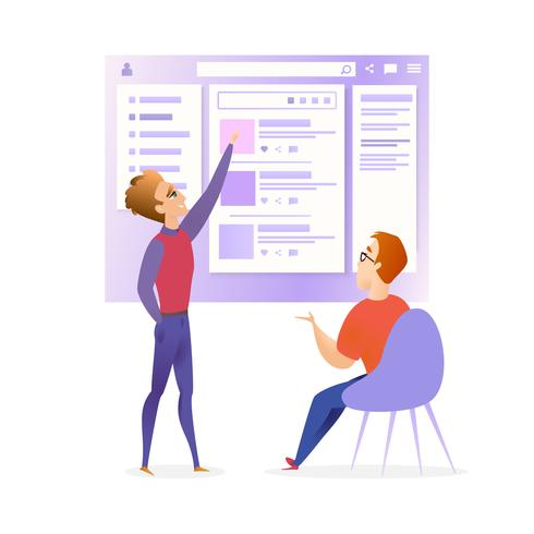 Site Web Ui Designer Developer Meeting Banner vecteur