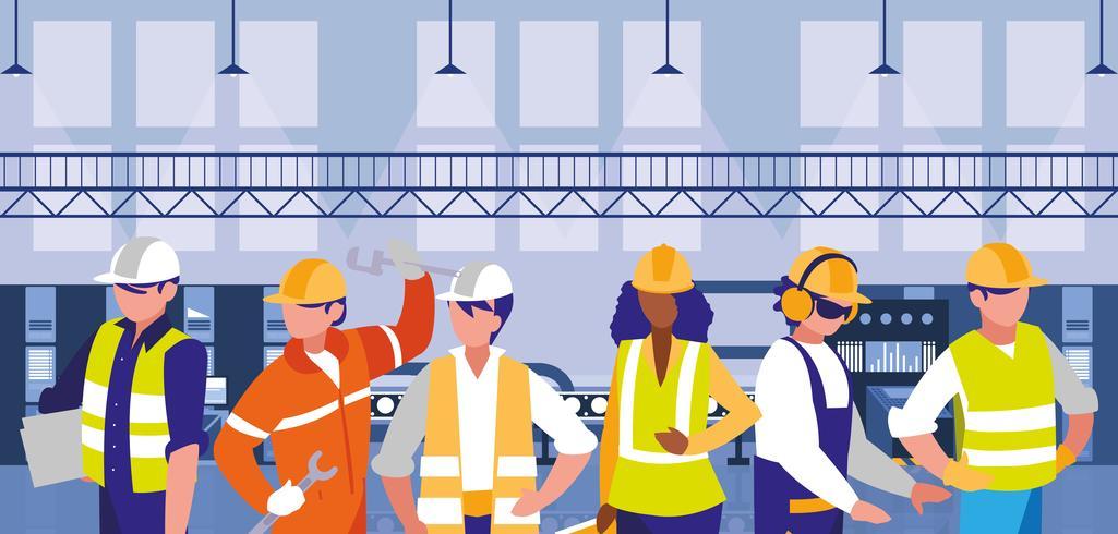 équipe de diversité travail dans la scène de l'usine vecteur