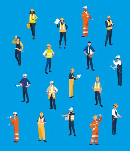 personnages de l'équipe de travailleurs de l'équipe vecteur