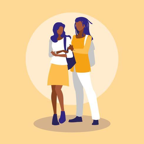 jeune couple noir vecteur