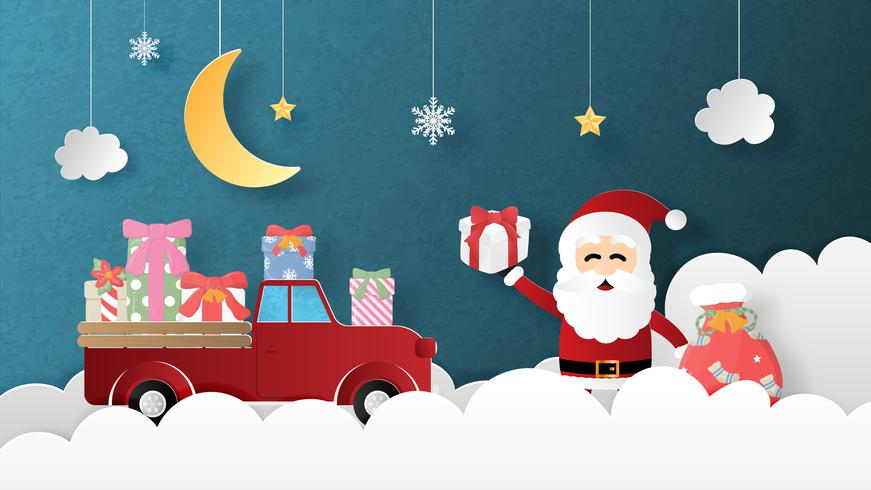 Joyeux Noël et bonne année carte de voeux en papier coupé style vecteur
