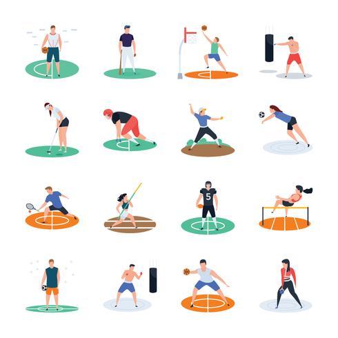 lot d'icônes de joueurs de sport vecteur