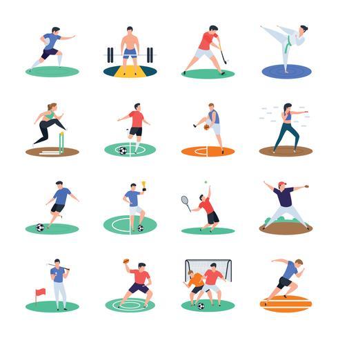 Pack d'icônes de joueur de sport vecteur
