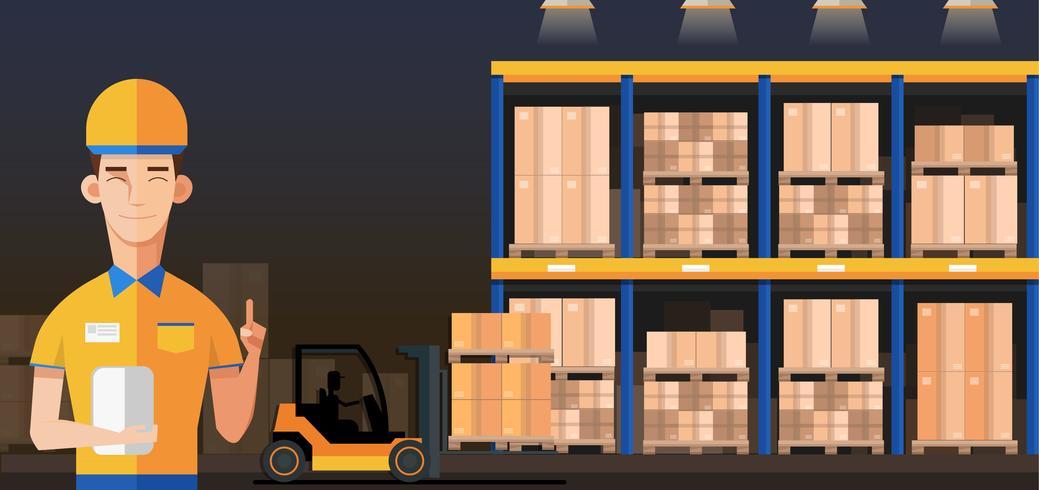 Gestionnaire d'entrepôt avec des boîtes emballées vecteur