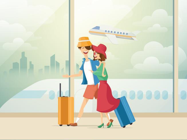 Couple en voyage vecteur