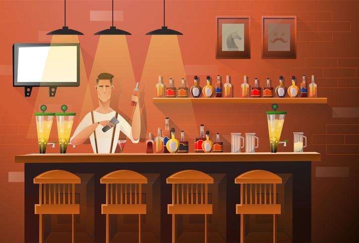 Barman faisant des boissons vecteur