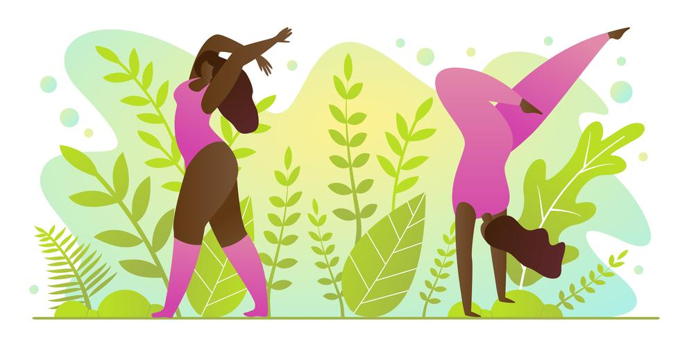 Pratique de yoga pour l'été dans le parc Cartoon Cartoon. vecteur