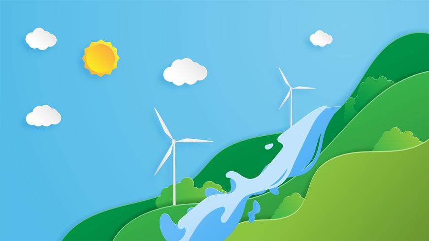 concept de conservation de l'environnement en style de papier découpé vecteur