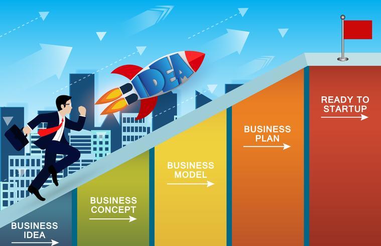 Hommes d'affaires et la concurrence des fusées sur la pente sur le graphique à barres. vecteur