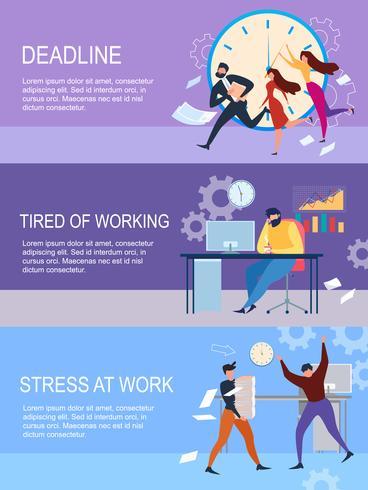 Échéance du stress au travail fatiguée par les travailleurs vecteur