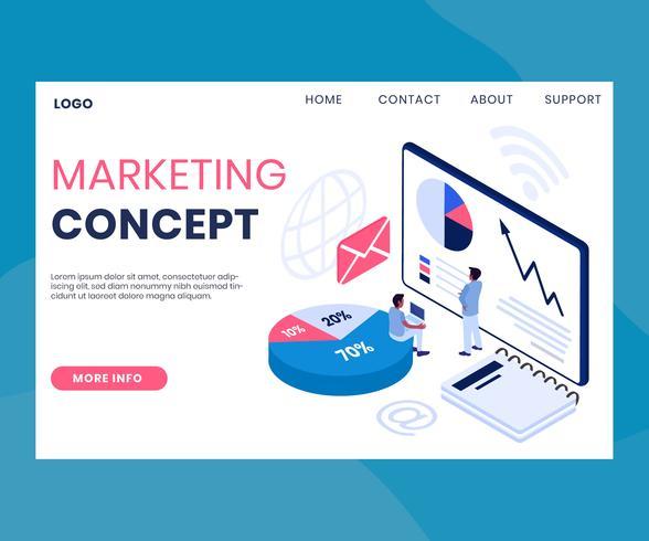 Page Web marketing isométrique vecteur