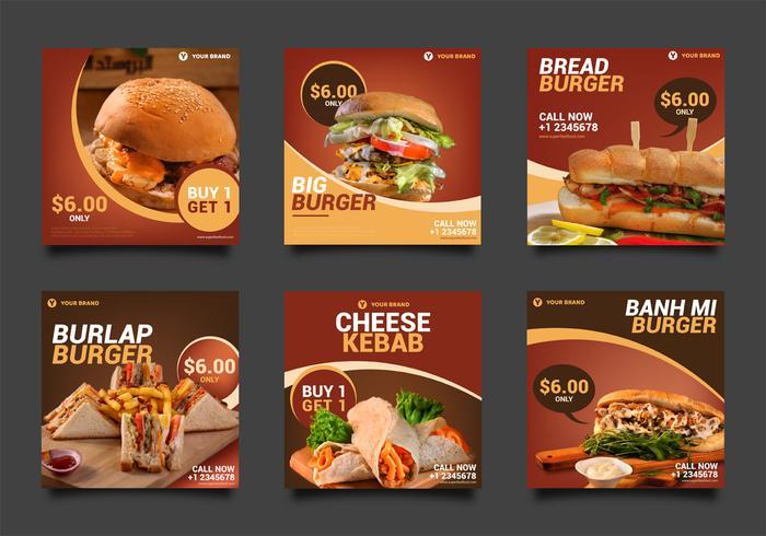 burger post pack médias sociaux vecteur