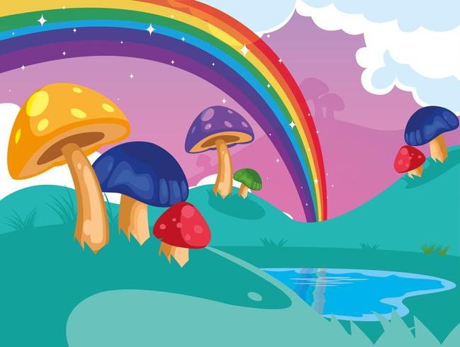 beau paysage de conte de fées avec champignon et arc-en-ciel vecteur