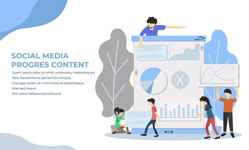 Page de destination du marketing par médias sociaux vecteur
