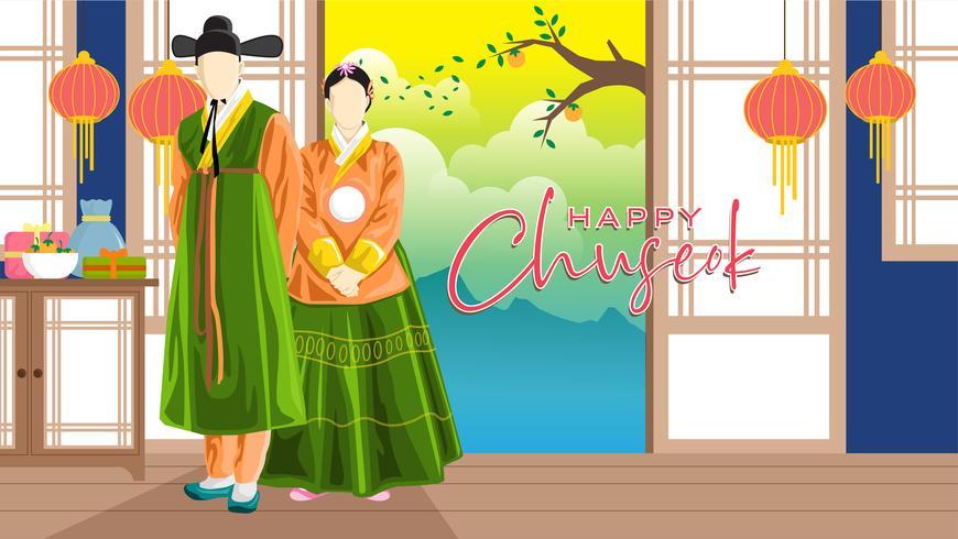 Joyeux coréen Chuseok Vector