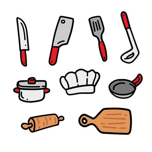 Jeu de griffonnages de cuisine dessinés à la main vecteur