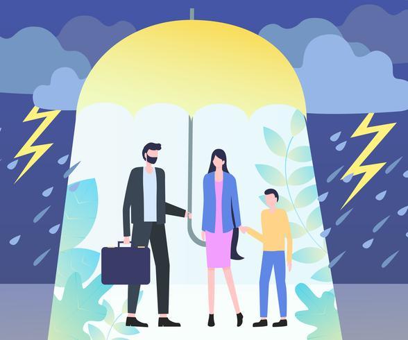 Homme tenir parapluie au-dessus de femme garçon pluie orage vecteur