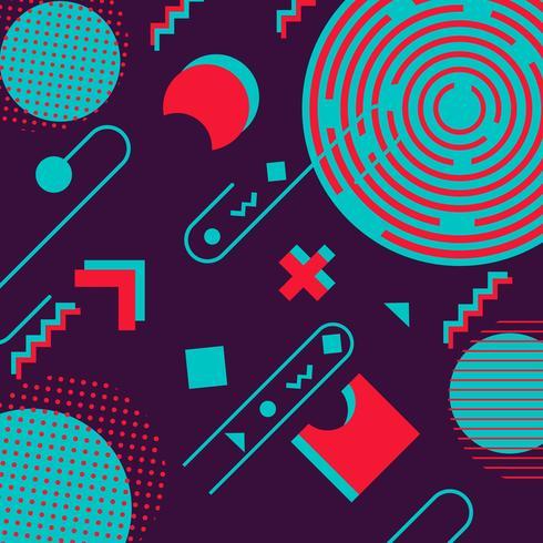Fond de hipster hipster, formes géométriques tendance rétro memphis vecteur