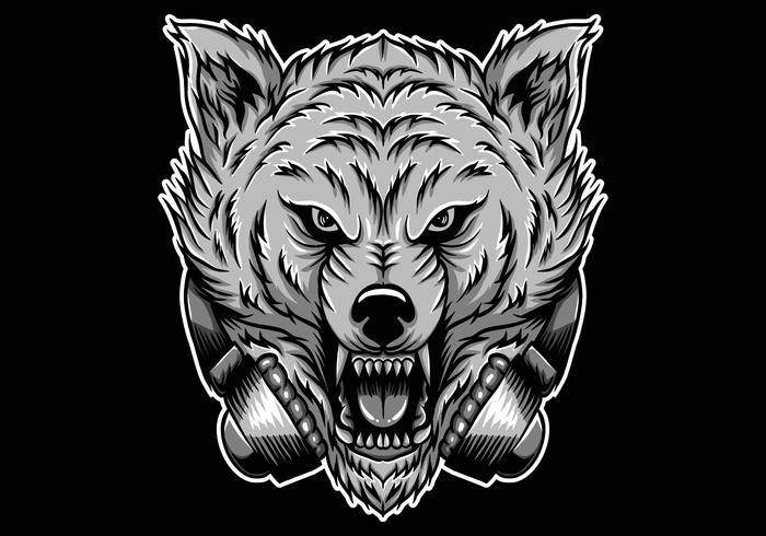 casque de loup en colère vecteur