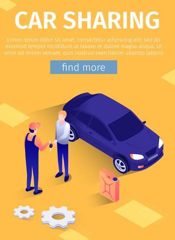 Poster texte mobile pour le service de partage de voiture en ligne vecteur