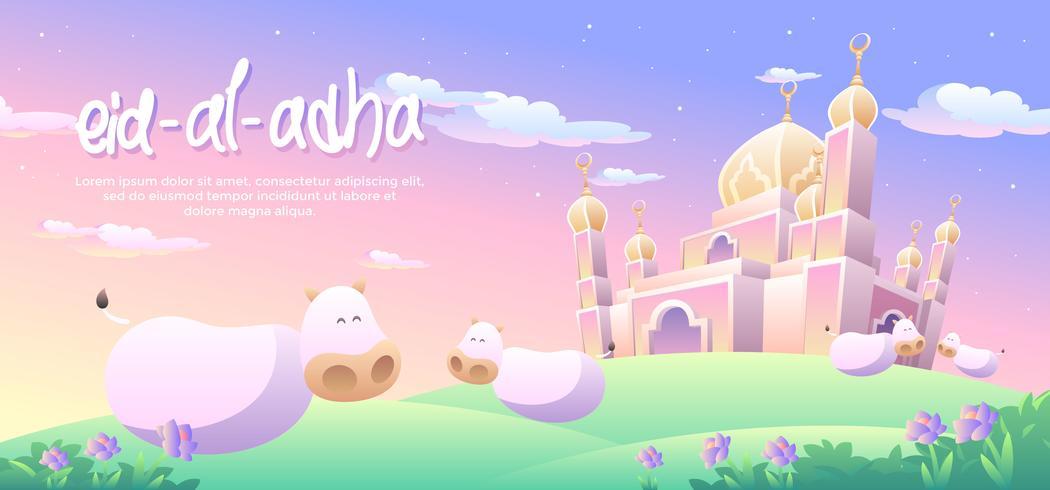 Eid Al Adha ciel crépusculaire vecteur