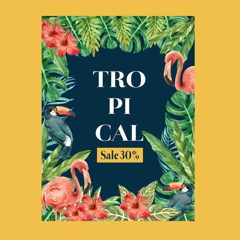 Affiche d'été de conception tropicale vecteur