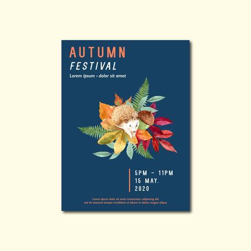 Conception de mise en page d'affiches automne avec des feuilles et des animaux vecteur
