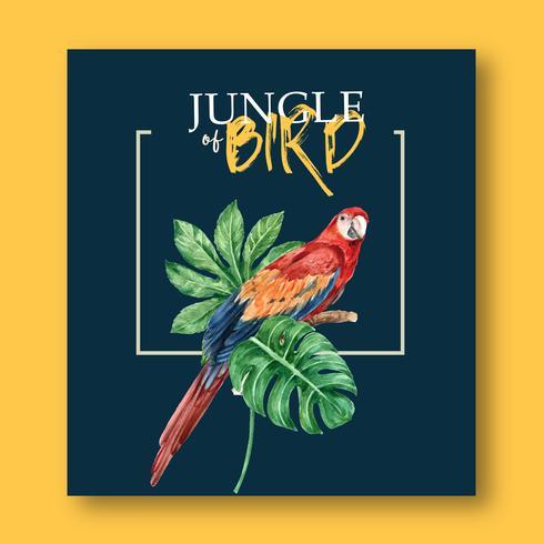 Conception d'oiseau affiche tropical vecteur