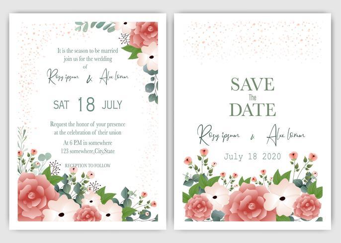 Carte d'invitation de mariage floral moderne vecteur