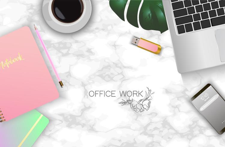 Bureau, table de travail vecteur