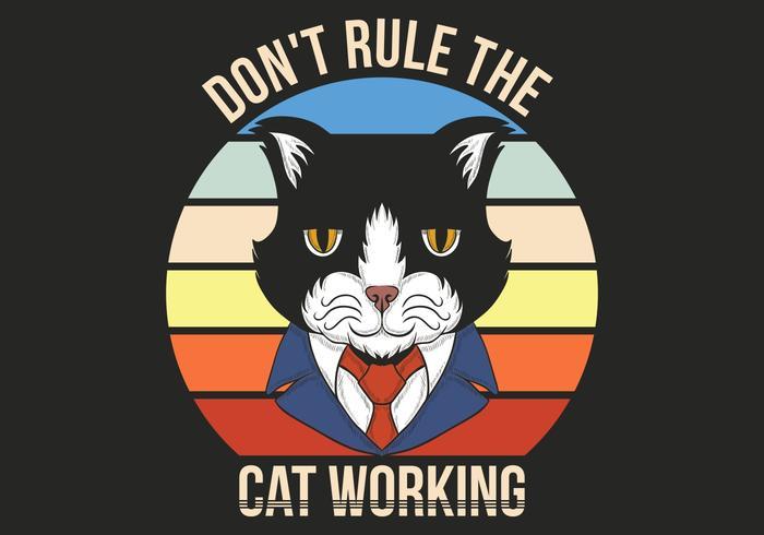 chat rétro en costume vecteur