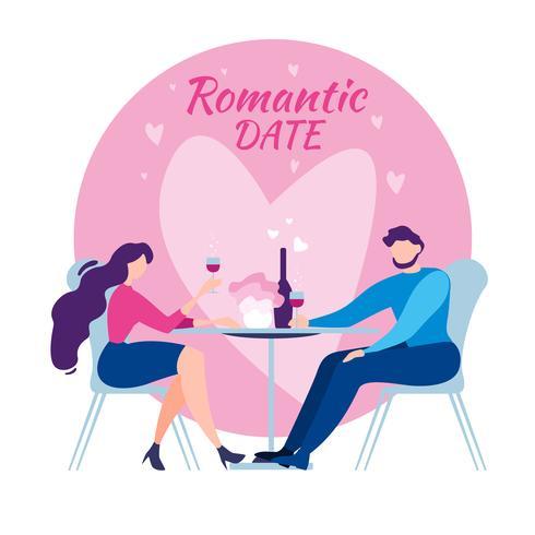 Homme Femme Café Table Dîner Romantique Date vecteur