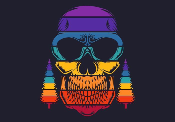 Crâne coloré rétro avec des pins vecteur