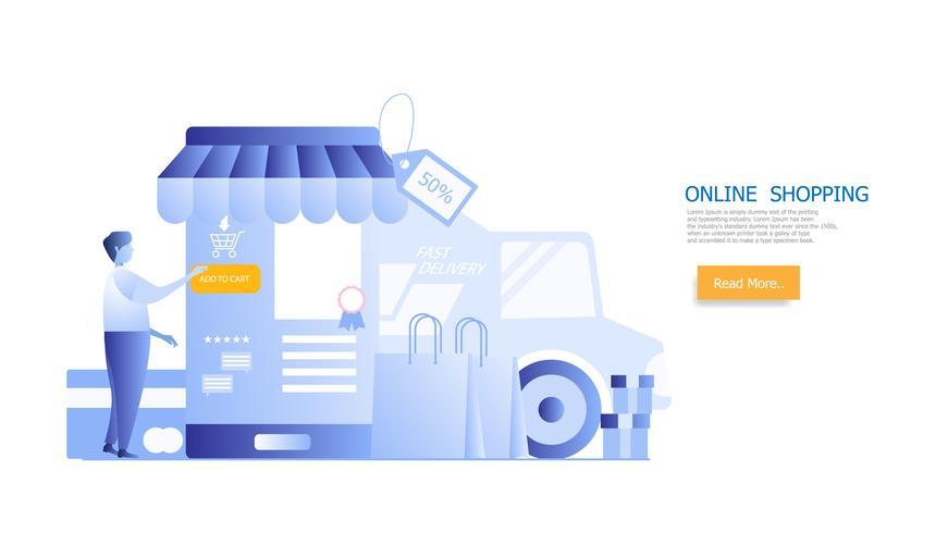 concept de magasinage en ligne, homme shopping sur smartphone vecteur