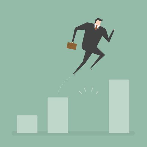 Homme d'affaires sauter à travers l'écart de croissance vecteur