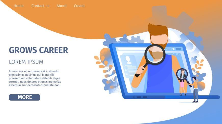 Man Character Search Opportunité de croissance de carrière vecteur