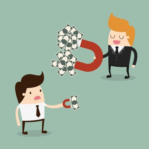 Les hommes d'affaires attirent de l'argent avec des aimants de tailles différentes vecteur