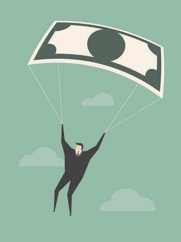 Homme d'affaires utilisant un billet de banque comme parachute. vecteur