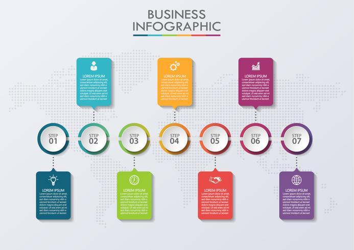 Modèle d'infographie de la chronologie vecteur
