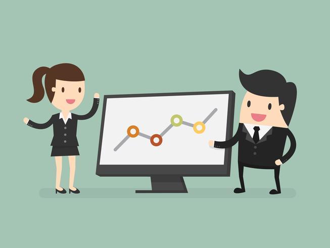 Gens d'affaires pointant vers un graphique lors d'une discussion lors d'une réunion vecteur